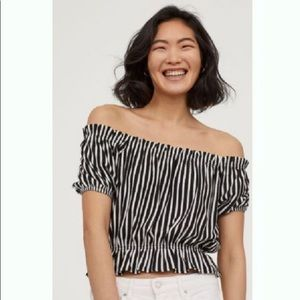 2 for $20 | H&M | Striped off the shoulder cropped